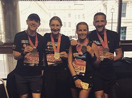 Steve Jones (Partner), Wendy Worger (Marketing Manager), Victoria Anderson (Social Media Executive) and Simon Trippett (Director) at The Property Centre with their winners medals after completing the London Marathon for charity.